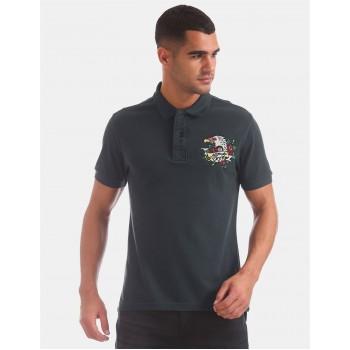 Ed Hardy Men Casual Wear Navy Blue T-Shirt