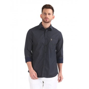 U.S. Polo Assn. Men Casual Wear Navy Blue Shirt