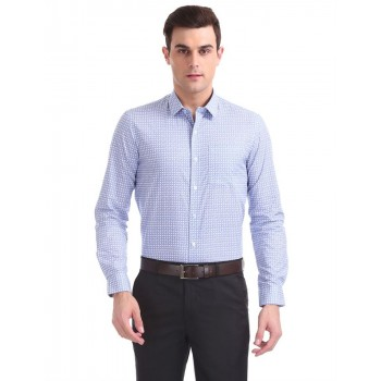 Arrow New York Men Formal Wear Blue Shirt