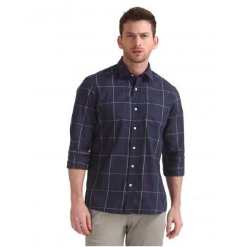 Arrow Sports Men Casual Wear Navy Blue Shirt