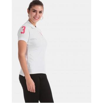 U.S. Polo Assn. White Solid Pique Polo Tshirt