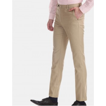 Arrow New York Men Formal Wear Beige Trouser