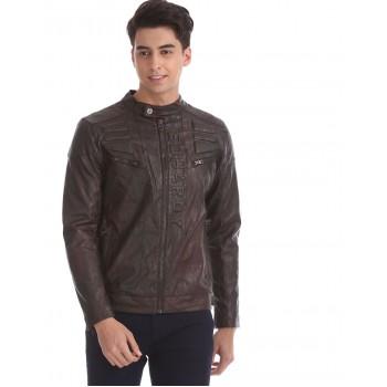 Ed Hardy Men Casual Wear Brown Biker jacket