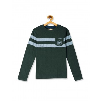 U.S. Polo Assn. Green Boys Crew Neck Striped Chest T-Shirt
