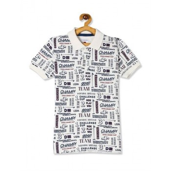 U.S. Polo Assn. White Boys Text Print Pique Polo Shirt
