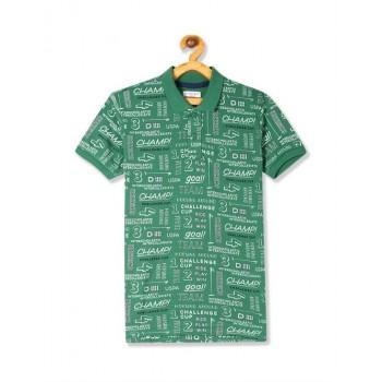U.S. Polo Assn. Green Boys Printed Pique Polo Shirt