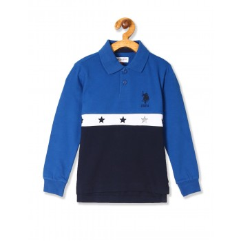 U.S. Polo Assn. Blue Boys Embroidered Accent Panelled Polo Shirt