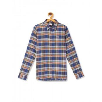 U.S. Polo Assn. Multi Colour Boys Spread Collar Check Shirt
