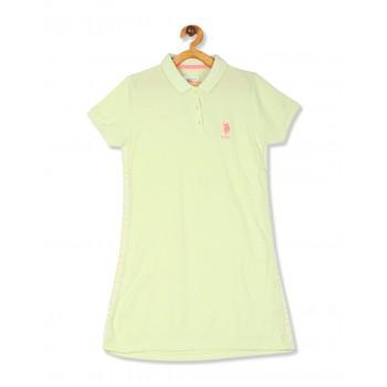 U.S. Polo Assn. Girls Green Pique Polo Dress