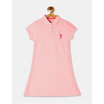 U.S. Polo Assn. Girls Orange Solid Polo Shirt Dress