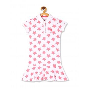 U.S. Polo Assn. Girls White Drop Waist Polo Dress