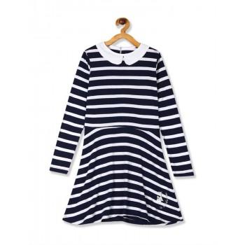 U.S. Polo Assn. Girls Navy And White Peter Pan Collar Knit Dress