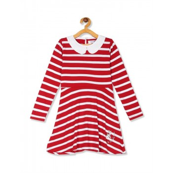U.S. Polo Assn. Girls Red Embellished Collar Striped Dress