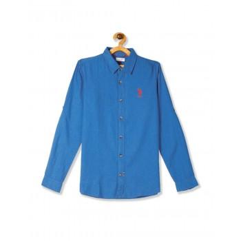 U.S. Polo Assn. Blue Boys Spread Collar Solid Shirt
