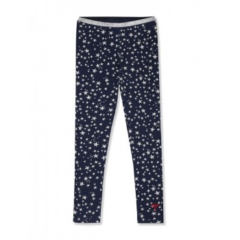 U.S. Polo Assn. Girls Blue Shimmery Waistband Star Print Leggings