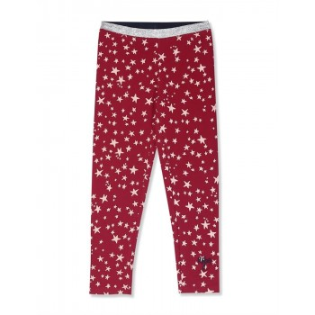 U.S. Polo Assn. Girls Red Shimmery Waistband Star Print Leggings