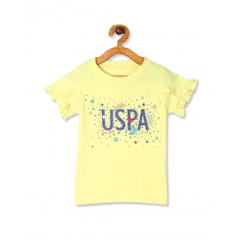 U.S. Polo Assn. Girls Yellow Ruffle Sleeve Printed Top