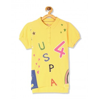 U.S. Polo Assn. Girls Yellow Printed Pique Polo Shirt