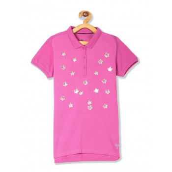 U.S. Polo Assn. Girls Pink Star Embellished Pique Polo Shirt