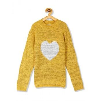 U.S. Polo Assn. Girls Yellow High Neck Metallic Knit Sweater