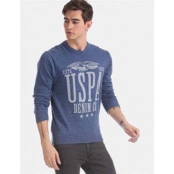 U.S. Polo Assn. Men Casual Wear Blue Sweater