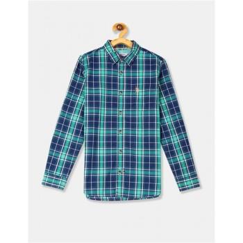 U.S. Polo Assn. Blue Boys Check Cotton Shirt