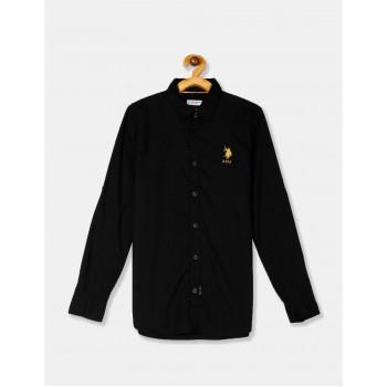 U.S. Polo Assn. Black Boys Spread Collar Solid Shirt