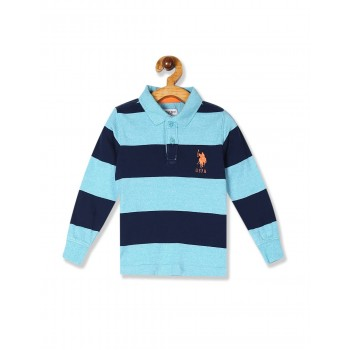 U.S. Polo Assn. Blue Boys Long Sleeve Striped Polo Shirt