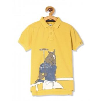U.S. Polo Assn. Yellow Boys Horse Print Pique Polo Shirt