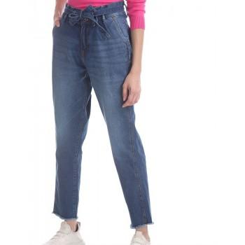 U.S. Polo Assn. Blue Girlfriend Fit Belted Waist Jeans