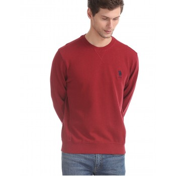 U.S. Polo Assn. Men Casual Wear Maroon Sweatshirt