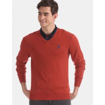 U.S. Polo Assn. Men Casual Wear Red Sweater
