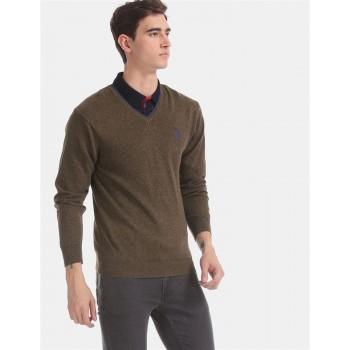 U.S. Polo Assn. Men Casual Wear Brown Sweater