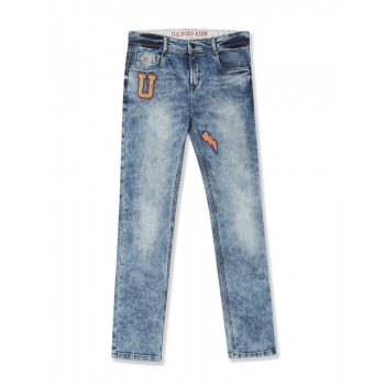 U.S. Polo Assn. Blue Boys Skinny Fit Faded Jeans