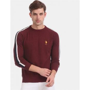 U.S. Polo Assn. Men Casual Wear Maroon Sweater