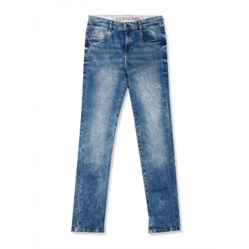 U.S. Polo Assn. Blue Boys Slim Fit Acid Wash Jeans