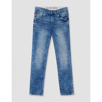 U.S. Polo Assn. Blue Boys Skinny Fit Acid Wash Jeans