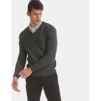 U.S. Polo Assn. Men Casual Wear Grey Sweater