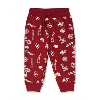 U.S. Polo Assn. Red Boys Mid Rise Printed Joggers