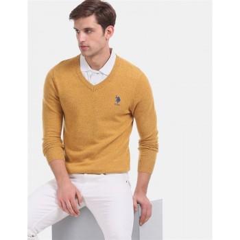 U.S. Polo Assn. Men Casual Wear Yellow Sweater