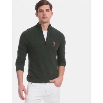 U.S. Polo Assn. Men Casual Wear Dark Green Sweater