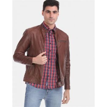 U.S. Polo Assn. Men Casual Wear Brown Biker Jacket
