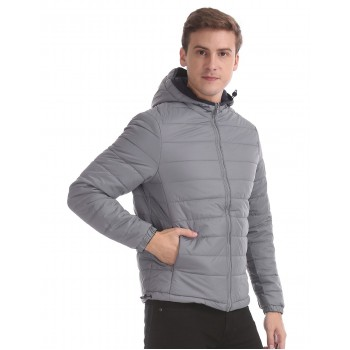 U.S. Polo Assn. Men Casual Wear Grey Reversible Quilted Jacket