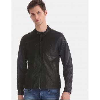 U.S. Polo Assn. Men Casual Wear Black Biker Jacket