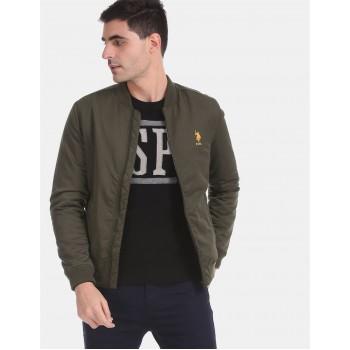 U.S. Polo Assn. Men Casual Wear Dark Green Bomber Jacket