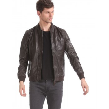 U.S. Polo Assn. Men Casual Wear Brown Bomber Jacket