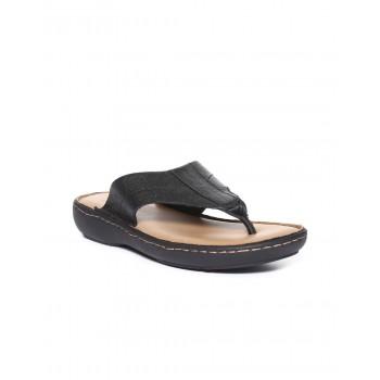 Arrow Men Casual Wear Black Slip On Sandals