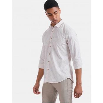 True Blue Men Casual Wear Off White Shirt