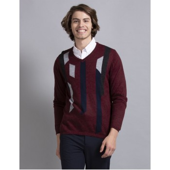 True Blue Men Casual Wear Maroon Sweater