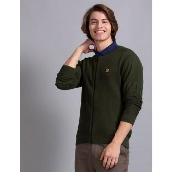 True Blue Men Casual Wear Olive Sweater